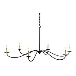 Currey and Company - Saxon Chandelier - Delicate arms reach out to simply create a large diameter chandelier with 6 lights. Zanzibar Black is the finish.