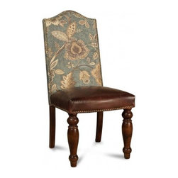 MERIDA BOTONY BLUE DINING CHAIR - Dining rooms should be inviting and comfortable. This leather-upholstered chair will help you make family dinners even more memorable.