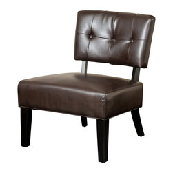 Great Deal Furniture - Cohen Occasional Chair, Brown Leather - Add the Cohen accent chair to your home, and you will have a functional and decorative piece that can fit in just about any space. Liven up your style with this retro chic chair, and you might find yourself sitting in his chair more than just on occasions.