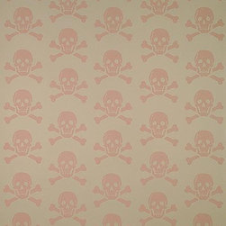 Mauve on Cement - AAAARRG! This skull and crossbones wallpaper totally makes me smile, mostly because of its unexpected lovely rose and cream color combination.