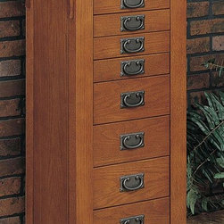 Powell Furniture - Jewelry Armoire in Mission Oak Finish - * 8 Drawers. Flip top mirror. Interior is fully lined. Will complement any decor. Provides ample storage space for all treasured pieces. Closed: 20 in. W x 15.25 in. D x 40 in. H. Open: 36 in. W x 15.25 in. D x 55.75 in. H