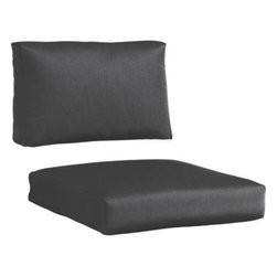 Newport Sunbrella® Charcoal Left Arm-Right Arm Modular Chair Cushions - Chic charcoal cushions add a soft silhouette to our Newport lounge collection. Polyester-filled cushions are covered in fade-, water- and mildew-resistant Sunbrella® acrylic fabric.