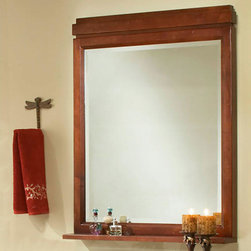Modena Vanity Mirror - The hand-rubbed finish and inset woodwork make the Modena Vanity Mirror an ideal addition for both casual and contemporary homes. This mirror also features a decorative shelf for small items.