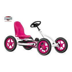 Berg USA - Berg USA Buddy Pedal Go Kart - White - 24.20.61.00 - Shop for Tricycles and Riding Toys from Hayneedle.com! Bikes can be fun but let your child get a feel for outdoor excitement with the safe thrills of the Berg USA Buddy White Riding Toy. This rugged four-wheel pedal toy has a wide wheelbase and adjustable seat that makes sure they can reach the pedals with enough room to spare. The metal frame features a sleek white and pink finish that is complemented by the air-filled tires that will ensure a smooth and safe ride. The unique BFR hub lets them pedal forward and back and even brake without taking their feet off the pedals. Because of the adjustable seat this rider can grow with your children from 3 to 8 years old. Additional Features BFR (brake forward reverse) hub for easy pedal control Sealed-bearing wheels for effortless rolling Durable plastic 5-point rims Pedal-operated coaster brake Chain cover for safety Attractive contoured pink seat Spring-loaded hitch pin for hauling loads Compact upright storage Easy assembly with all necessary tools included About Berg USAFounded in 2010 Berg USA is quickly becoming a recognized name in children's riding toys with their innovative designs and attention to safety that don't get in the way of their dedication to providing outdoor exercise for both kids and adults. Berg USA designs and offers a wide variety of high-quality pedal go-karts for home or commercial use ranging in size to comfortably accommodate ages 2 through adult as well as their versatile line of MOOV construction kits. Please note this product does not ship to Pennsylvania.