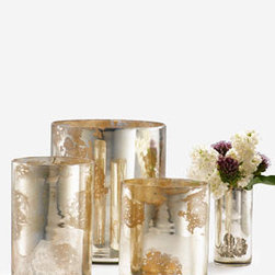 Antique Silver Cylinders - These antique mercury glass vases cast a beautiful glow when filled with candles, or they could be the perfect vessels for displaying winter branches.