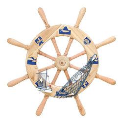 Benzara - Seaside Nautical Ship Helm decor With Fishing Net - For all those who love the sea and love the harbor, this carved beach wood decor features the helm of an old fashioned ship, cleverly tangled with a fishing net. And with extra pieces of ocean themed ornaments, like a toy sailboat and seashells, this helm decor adds a fresh ocean breeze to any area of your home.