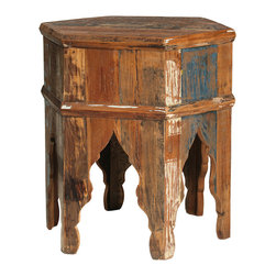 Nantucket Side Table, Medium Brown - Full of character and rustic style, the hexagonal Nantucket Side Table features six legs that combine to create the gracious, antique-inspired cut out detailing of the apron. Distressed paint and a range of color tones over the medium brown sealed finish lends the table a distinct distressed and antiquated look. Nestle this table next to a favorite side chair or sofa for a rustic, charming place to set a cup of coffee and a great book.