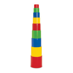 "The Original Toy Company - The Original Toy Company Kids Children Play Stacking Fun - Stacking Fun- Stacking cups. 9 brightly colored cups. Geometric shaped tops. Cut outs for water play and stacking. Size 20"" (stacked high)."