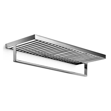 WS Bath Collections - Skuara Towel Rack Shelf w Towel Bar in Polish - Made by Lineabeta of Italy. Product Material: Brass. Finish/Color: Polished Chrome. Dimensions: 9.8 in. D x 23.6 in. W
