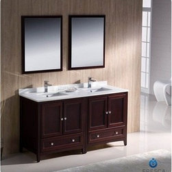 "Fresca - Fresca Oxford 60"" Traditional Double Sink Bathroom Vanity - Mahogany - Fresca's Oxford collection is just what you have been looking for. Solid construction with wonderful soft-close dovetail drawers. Available in the rich finishes of Espresso, Antique White and Mahogany. All of the vanities in the Oxford line come with seamless Quartz Stone Countertop and Backsplash. Many faucet styles to choose from. Bring the clean lines of the Oxford from Fresca into your home for many years of enjoyment. Features Mahogany Finish Solid Wood Frame, MDF Panels Quartz Stone Countertop Ceramic Undermount Sinks with Overflow Single Hole Faucet Mounts (Faucets Shown In Picture May No Longer Be Available So Please Check Compatible Faucet List) 4 Soft Close Doors 2 Soft Close Dovetail Drawers Seamless Countertop with Matching Backsplash Mirrors Included P-trap, Faucets, Pop-Up Drains and Installation Hardware Included How to handle your counter Installation Guide"