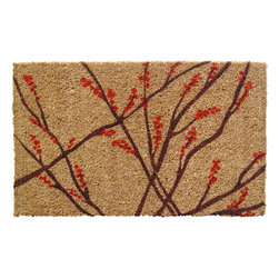 Entryways - Winter Berries Hand Woven Coconut Fiber Doormat - Designed by an artist, this distinctive mat is a work of art that will add a welcoming touch to any home. It is from Entryways' handmade collection and meets the industry's highest standards. This decorative mat is handsomely hand woven and hand stenciled.
