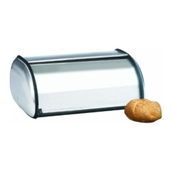Anchor Hocking - Brushed Steel Bread Box Euro - Our Brushed Steel Bread Box is very attractive and a Euro design bread box used for keeping your bread fresh. Gift boxed to make a perfect gift for a housewarming, shower or wedding gift. Keep breads fresh and out-of-sight all at the same time.