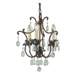 Murray Feiss - Murray Feiss Maison de Ville Traditional Mini Chandelier X-BRB3/0881F - From the Maison de Ville Collection, this Murray Feiss mini chandelier or chandelette features plenty of intricate details for a stylish European feel. The rich tones of the British Bronze finish help to highlight the crystal accents while three candelabra style lights complete the look.