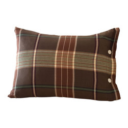 "Taylor Linens - Deerfield Boudoir Pillow - Our plaid is a handsome combination of browns, creams, and sages. It is woven into a soft, wide-width fabric so there are no seams. It has corded piping and horn button closure. The plaid mixes beautifully with many of our solid quilts and many of our special pillows. Filled with a 100% White Goose Feather and Down Pillow. 13""x18"""