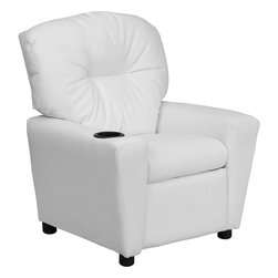 Flash Furniture - Flash Furniture Contemporary White Vinyl Kids Recliner with Cup Holder - Kids will now be able to enjoy the comfort that adults experience with a comfortable recliner that was made just for them! this chair features a strong wood frame with soft foam and then enveloped in durable vinyl upholstery for your active child. Choose from an array of colors that will best suit your child's personality or bedroom. This petite sized recliner will not disappoint with the added cup holder feature in the armrest that is sure to make your child feel like a big kid! [BT-7950-KID-WHITE-GG]