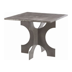 Arteriors - Evan Entry Table - Puzzled by your search for a good solid entry table that speaks to your sense of style? This iron-topped table has that modern look you love, will hold a lamp or two and has a base that resembles jumbo jigsaw pieces. Puzzle solved!