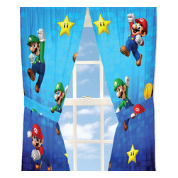 Franco Manufacturing - Super Mario Drapes Nintendo Fresh Look Window Curtains - FEATURES: