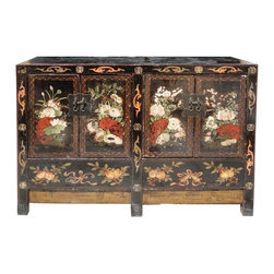 Golden Lotus - Black Base Flower Graphic Rustic Side Table - This is an old cabinet restored finish for the modern furnishing. It has nice black base lacquer color with white and red flowers on the doors as an accent. The bottom section is deep near the floor ( drop inside ).