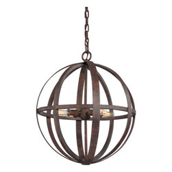 Troy Lighting - Troy Lighting F2514 Flatiron 4 Light Wrought Iron Pendant - The Flatiron 4 Bulb Chandelier is a stunning industrial rustic design. Framed in a traditional globe in hand-worked wrought iron, this piece adds four slender Edison bulbs for a look and feel you have to see to believe. Finished in a unique, custom weathered iron tone, Flatiron is ideal for any transitional or steampunk inspired d�cor.Being a Leader in an Industry requires many attributes. Troy Lighting's passion for quality, design, value and service lead the way. Their Team of Lighting Professionals are serious about producing awesome lighting and having a strong, well-run company. Hand-Forged Iron, Hand Applied Finishes, Glass and Shades that compliment the style are primary ingredients in Troy Lighting products. They take great pride in their engineering and inspection standards that ensure a quality product. Troy Lighting is committed to providing quality high styled products, at reasonable prices, backed with the highest standard of service.Features: