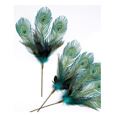 Holiday Lane Peacock Feather Picks, Set of 3 -