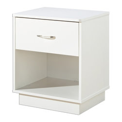 South Shore - Kids' Logik Night Stand With Pure White Finis - Color: Clear HandlesKids' nightstand is perfect for storing and displaying nighttime essentials like a clock, lamp, books, tissues and more. There's one drawer at the top with a silver tone handle and an open display area at the bottom. Pure white finish fits with most décor. * Manufactured from eco-friendly, EPP-compliant laminated particle boardcarrying the Forest Stewardship Council (FSC) certification. Pue white finish. Recessed platform base for a contemporary touch. Rounded shaped top for a softer look and increased safety. 4 spacious drawers for your every storage solution needs. Handles with color inserts (clear or red) to match different decors. Innovative drawer Smart Glides with lifetime warranty. Child-friendly safety catches on drawer glides. Manufactured from engineered-wood products. Made of engineered wood from 100% recycled wood fiber. 5-year warranty. Assembly required19.5 in. L x 16.8 in. W x 23.3 in. H. 28.3 lbs