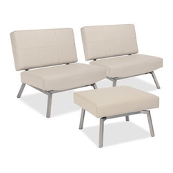 Thos. Baker - madison 3pc seating set - For the madison collection, we began with German-engineered, premium synthetic leather from Skai in light taupe. Completely water- and UV-resistant.