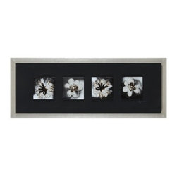 Ren-Wil - Ren-Wil W6106 Midnight Florals Horizontal Alternative Wall Decor by Dominic Leca - A set of four floral tiles is molded in glass and hand painted on the reverse in rich browns and contrasting black. These glass tiles are mounted on a linen covered wood background and finished with a silver frame.