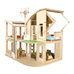 "Plan Toys - Green Dollhouse with Furniture - Dollhouse is drool worthy to the extreme. Like any smart green home, this dollhouse incorporates renewable energy design features such as passive solar via solar panels on the roof, and a wind turbine. An eco-friendly green plant biofacade is included to keep dollhouse temperatures perfect year round, along with a useful shade canopy that your child can pull down in order to prevent or allow sunlight and wind to flow through the house. Set includes: -Wind Turbine. -Solar Cell Panel. -Rain Barrel. -Biofacade. -Furniture. Features: -Dollhouse collection. -For ages 3 years and up. -Environmentally safe materials. -With electrical inverter for generating electricity. -Can adjust the amount of sunlight and air circulation. -Shade canopy allowing the wind and sunlight coming through. -Designed to help children learn how to live in harmony with nature. Specifications: -Material: Rubberwood. -Overall dimensions: 21.65"" H x 3.74"" W x 22.83""L."