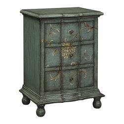 Traditional Style - This sweet but dramatic chest will bring warmth to any corner. The Ivy Farms Blue Grey color is fashion forward. Across the three curved drawers is a hand painted floral and scroll design. Molding details, rounded ball feet and metal hardware are more special details. Dimensions: 22x16x30 (ctc61672)