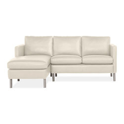 Jackson Leather Sofas with Chaise - A modern mix of materials and meticulous tailoring make the Jackson leather sofa and chaise the center of attention in any room. Beautiful stitching detail and chrome-finished legs enhance the sleek design of this loose-back sectional sofa.