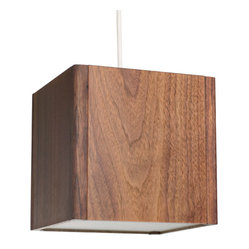 Brave Space Design - Light Block - Light up your room with the richness and warmth of walnut. The panels glow from within and cast an elegant light. Hang this in a modern dining room for touch of rustic glamour.