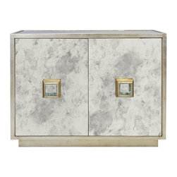 Worlds Away - Worlds Away - Winslow Cabinet, Gold - Worlds Away touches the home with marvelous of-the-moment treasures inspired by vintage finishes, patterns and styles. Pairing glamorous sophistication with classic elements, the Winslow cabinet delivers the modern dining room a statement-making design. The furnishing's silver-leaf frame and hardware shine with elegant allure, while antique mirror across the two doors reflects timeless taste. The storage piece is equipped with a single interior fixed shelf.