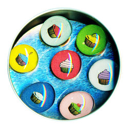 "Cupcake Glass Gem Magnet Set - Handmade in our studio, our adorable Cupcake glass gem magnets started with a tiny painting which was reduced to size and reproduced. We use super strong ceramic magnets, so they're not only cute, they're functional. (Unlike those magnets that fall off when you close the refrigerator door!) Each magnet is about 3/4 inch wide, the tin is 2.75"" wide. Set of 7 in a tin. Made in the USA."