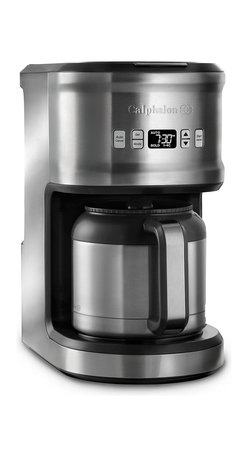 Calphalon Quick Brew 10 Cup Thermal Coffeemaker - The Calphalon Quick Brew 10-Cup Thermal Coffee Maker heats water rapidly to speed the brewing process, delivering premium flavor up to 25% faster than comparable standard coffee makers. The removable water tank lets you fill up with fresh water directly at the sink, and the thermal carafe keeps coffee hot for hours. Custom settings, including brew strength and batch size, help you brew the perfect cup. And if you like your coffee ready when you wake up, the 24-hour programmable timer can be set up in advance. High contrast digital LCD is viewable from all angles. Mid-brew pour lets you serve coffee before the brewing cycle is complete. Includes permanent gold tone coffee filter and charcoal water filter to remove impurities for better-tasting coffee.