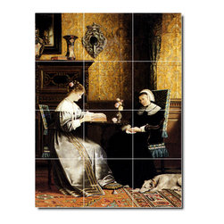 Picture-Tiles, LLC - Reading A Book Tile Mural By Rudolf Ernst - * MURAL SIZE: 32x24 inch tile mural using (12) 8x8 ceramic tiles-satin finish.