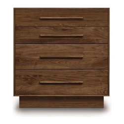 Copeland Furniture - Copeland Furniture | Moduluxe Four-Drawer Dresser, 35-Inch High - Made in Vermont by Copeland Furniture.The 35-Inch Moduluxe Four-Drawer Dresser offers traditional dresser storage in a crisp modern design. This precisely crafted wooden chest is part of the Moduluxe series of sectional furniture for the bedroom. This highly configurable bedroom and storage system can adapt to most spaces and needs. The Four-Drawer Dresser is a great standalone piece in smaller spaces or for additional storage. Or, it can be configured with other 35-Inch pieces in the collection for a modular bedroom solution.The Moduluxe Four-Drawer Dresser is crafted in solid cherry hardwood (available in six finishes), maple hardwood (available in eight finishes) or in natural walnut hardwood drawer pulls that match the drawer face. Construction features include asymmetrical English dovetail joints, solid hardwood drawer sides, fully finished drawer boxes with finished/sanded interiors, glued in place drawer bottoms and side mounted, full extension soft-close drawer slides.Select from 15 wood finishes, then select one of two satin surface finishes: standard Copeland Lacquer top coat or formaldehyde free Copeland Water Based top coat.Note: The back side of this Copeland case good is constructed in fully finished Baltic birch plywood panel which may not exactly match the rest of the case.