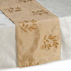 "Sam Hedaya Corporation - Monique Gold Table Runner - This beautiful table runner in a soft, neutral palette features a pattern of embroidered branches and leaves. The table runner measures 14"" wide."