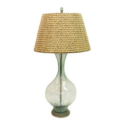 Palecek Glass Float Lamp - Glass lamps are the perfect choice when you're debating a color or don't want to break up a visual line. This one's natural shade is easy and textural. I love it for an office as a not-too-serious desk lamp.