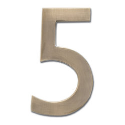 Antique Brass 4-inch Floating House Number