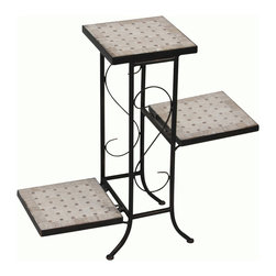 4D Concepts - 4D Concepts 3-Tier Plant Stand w/ Travertine Top in Black Metal - What a wonderfully crafted travertine top and metal plant stand that is perfect for any kitchen, nook, or patio in the home. All the metal is finished in a rich powder coated antique Tuscany which gives the product a distinct look. The nicely sculpted metal frame adds to the beauty of this unit. The 3 fold down slate shelves are perfect for holding any of your favorite plants. The flared legs at the bottom adds to the elegance of this unit. Constructed of metal and stone. Clean with a dry non abrasive cloth. Comes fully assembled.