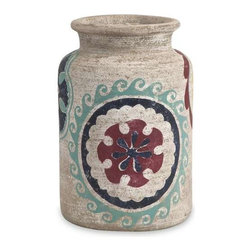 """Nevis Small Handpainted Vase - Navajo inspired patterns decorate this earthy, white washed vase. Great as a stand alone piece or with a simple dried natural filler, this vase adds richness and authenticity to your decor. (10.75""""H x 7.25""""W x 7.25"""")"""