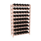 54 Bottle Stackable Wine Rack in Redwood with White Wash Stain + Satin Finish - Three times the capacity at a fraction of the price for the 18 Bottle Stackable. Wooden dowels enable easy expansion for the most novice of DIY hobbyists. Stack them as high as you like or use them on a counter. Just because we bundle them doesn't mean you have to as well!