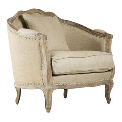 "Rue du Bac French Country Natural Hemp Feather Down Arm Chair - This wonderful barrel style armchair is hand crafted of sturdy oak in a limed oak finish. Upholstered in natural hemp fabric, this traditional French Country inspired arm chair lends vintage elegance to any living room. One 18"" and one 24"" toss pillow also comes with this chair. Coordinating settee and sofa available as well."