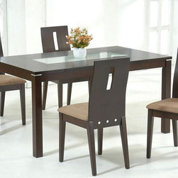 Stylish Wooden and Frosted Glass Top Microfiber Seats Dinette Set and Chairs - Solid wood dining set with frosted glass accent. Chairs have rubberwood construction and tan microfiber upholstery.