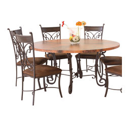 Artisan Home Furniture - Artisan Home Valencia 5 Piece Copper Top Dining Room Set w/ Lazy Susan - All tops have their own natural character provided by the firing of the copper. No two tops will match but will blend together.  Made from hand forged wrought iron, which is heavy and durable.  Seats comfortably 4-6 people respectively. Beautifully designed scrolls on this metal chairs provide for a sturdy and heavyset chair, that is accented by a wooden slat on the backrest for added comfort.  Not included with the top, but available to compliment his beautiful set.
