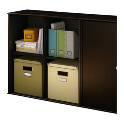 South Shore - South Shore Stor It 4 Cubby Storage Unit in Chocolate - South Shore - Storage Cabinets - 5059772 - This shelving unit from the Stor It collection in Chocolate finish has four open cubes designed to maximize storage in all the rooms of your house. Its curved lines and minimalist design are typical of the transitional style that matches any decor. Match it up with other pieces from the Stor It collection to create your own storage solution.Features: