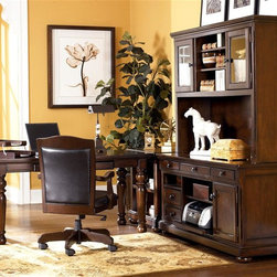 Signature Design by Ashley - 5 Pc Large Leg Desk Set in Burnished Brown - Set includes Large Leg Desk, Office Chair, Credenza, Corner Table, and Large Hutch. Made with select Cherry veneers and hardwood solids. Burnished Brown finish. Hardware is finished in a Dark Bronze color. Credenza features a pull out printer shelf, laptop tray and electrical charging station. Pull-out keyboard tray is covered with black PVC for durability. Some assembly required. Large Leg Desk: Assembly Instructions. Office Chair: Assembly Instructions. Credenza and Hutch: Assembly Instructions. Corner Table: Assembly Instructions. Large Leg Desk: 60 in. W x 28 in. D x 30 in. H. Office Chair: 24 in. W x 23 in. D x 40 in. H. Credenza: 60 in. W x 22 in. D x 30 in. H. Corner Table: 28 in. W x 22 in. D x 30 in. H. Large Hutch: 60 in. W x 16 in. D x 45 in. H