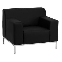 Flash Furniture - Definity Series Contemporary Black Leather Chair with Stainless Steel Frame - With its low profile, boxy shape and stainless steel legs, this black leather chair is ready for any contemporary setting. Thick track arms are comfortable for reading or relaxing and the generously padded fixed cushion seat means this cozy chair will never look rumpled or scruffy.