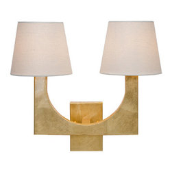 Worlds Away Fritz 2 arm Wall Sconce, Gold Leaf - Worlds Away Fritz Stainless Steel 2 arm Sconce