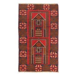"Torabi Rugs - Hand-knotted Rizbaft Red Wool Rug 2'9"" x 4'6"" - Rizbaft rugs are hand woven tribal rugs from Eastern Afghanistan. These are primarily woven by Pashtun and Baluch nomad artisans. Hand made from 100% natural wool, in floral and all over pattern designs with very dense weave.  Durable, they mostly come in smaller sizes. The Balouch people also weave saddlebags, salt bags, prayer rugs, which reflect their nomadic way of life."